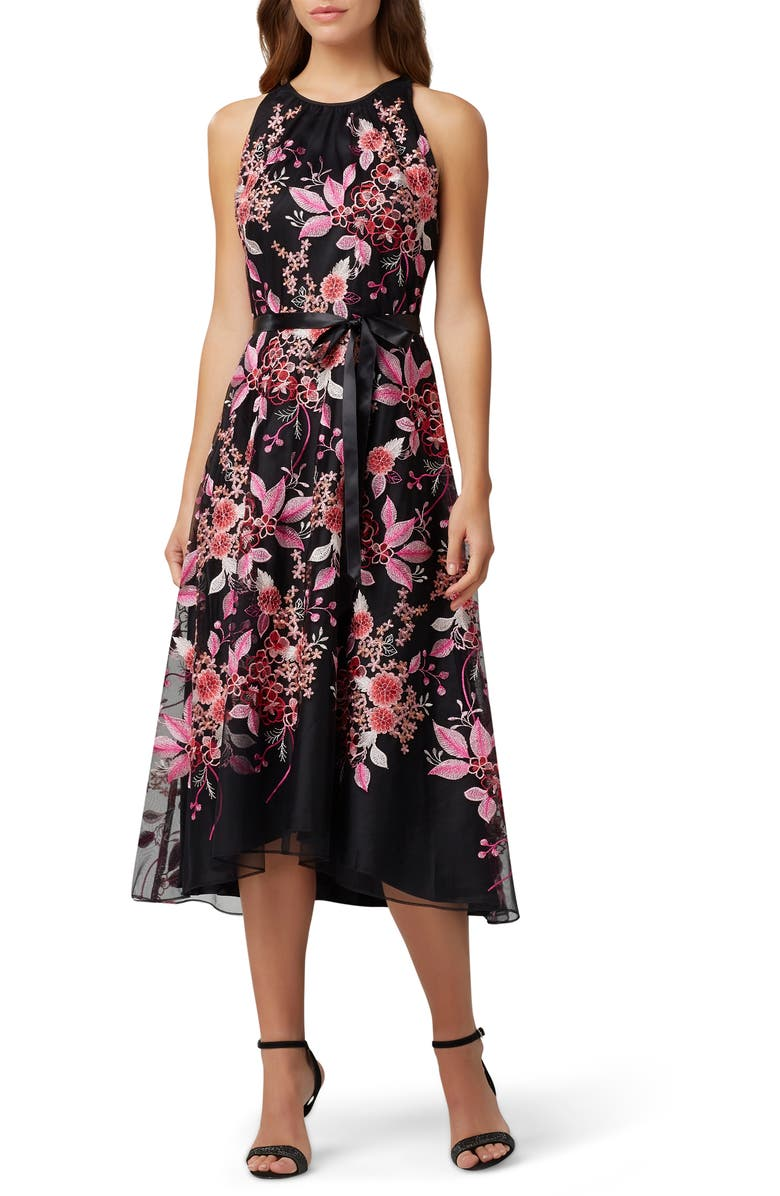 TAHARI Floral Embroidered High/Low Midi Dress, Main, color, 001