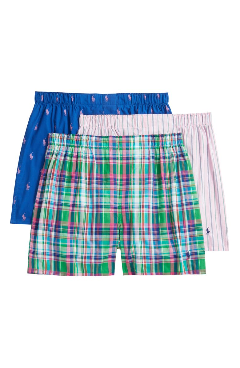 POLO RALPH LAUREN 3-Pack Assorted Woven Boxers, Main, color, 400