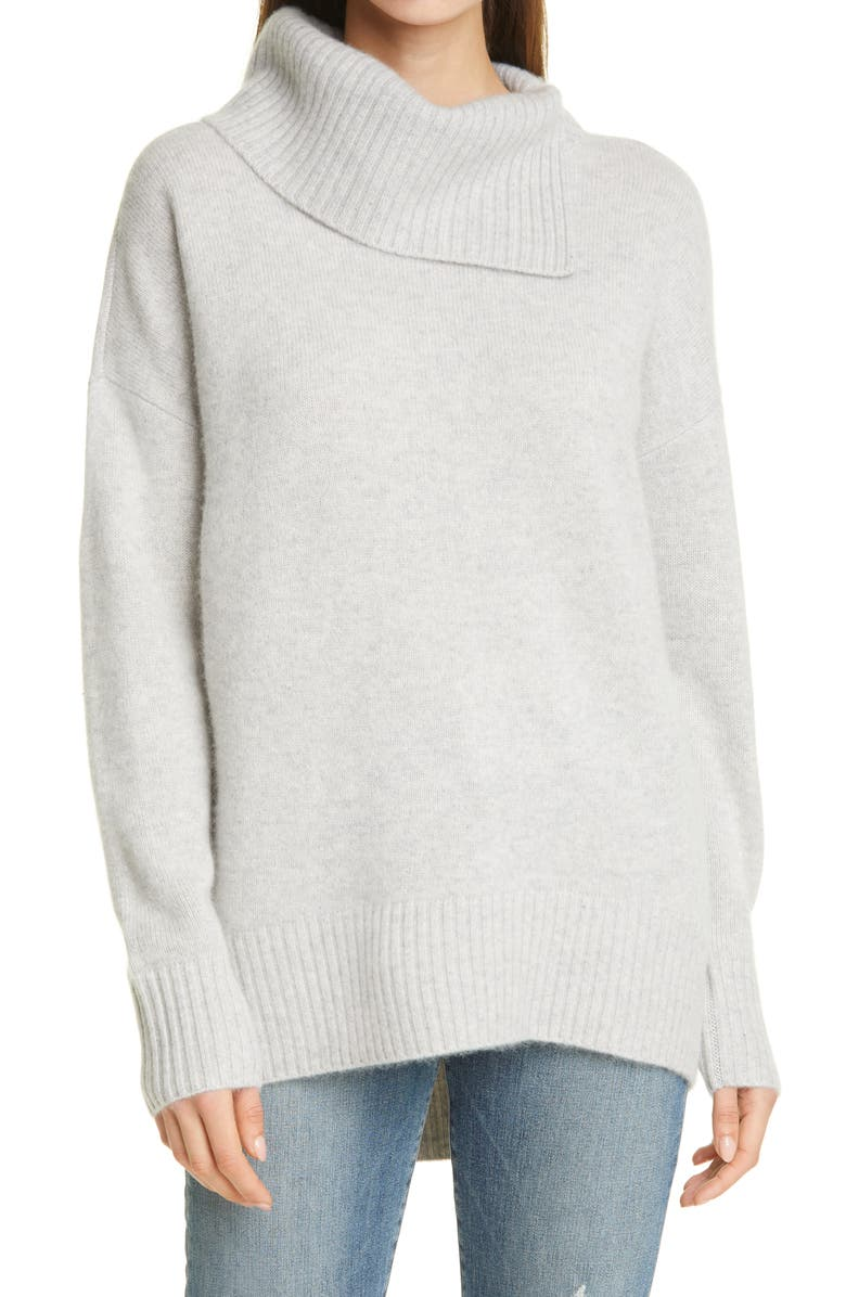 NORDSTROM SIGNATURE Cashmere Pullover, Main, color, GREY LIGHT HEATHER