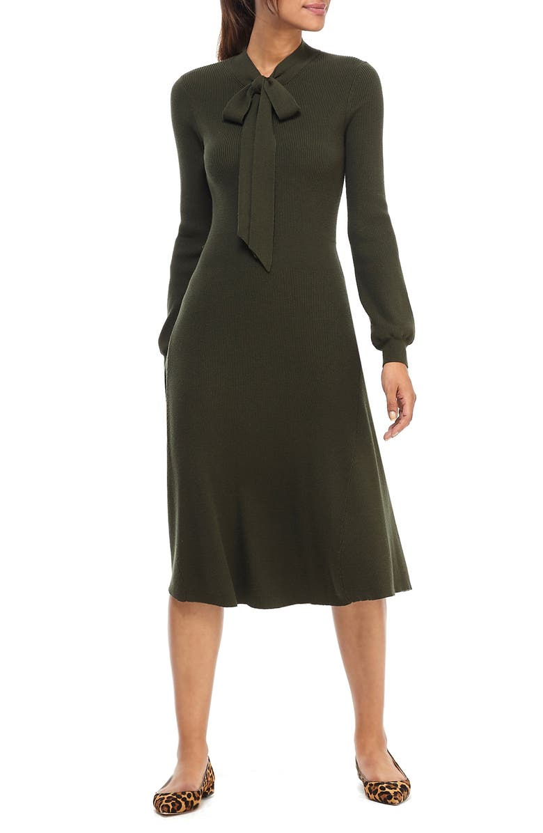 GAL MEETS GLAM COLLECTION Brianna Tie Neck Long Sleeve Sweater Dress, Main, color, 314