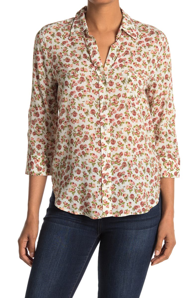 LAGENCE Ryan Floral Button Down Blouse, Main, color, SMALLER ROSA
