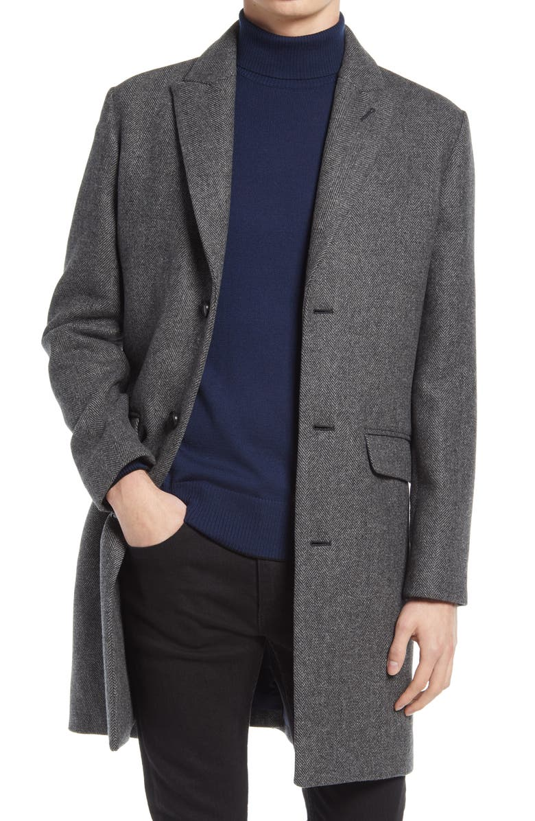 BONOBOS The Stretch Wool Blend Water Repellent Topcoat, Main, color, CHARCOAL HERRINGBONE