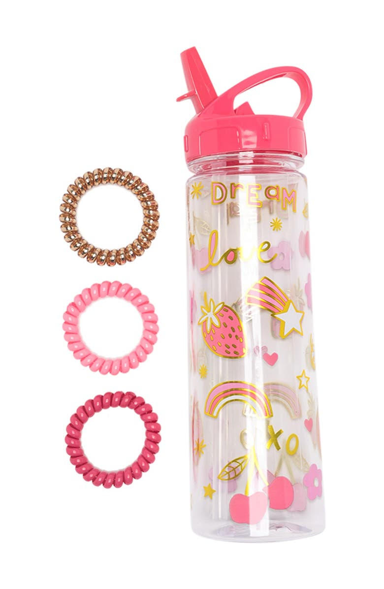 CAPELLI NEW YORK Water Bottle & Coil Scrunchie Set, Main, color, PINK COMBO