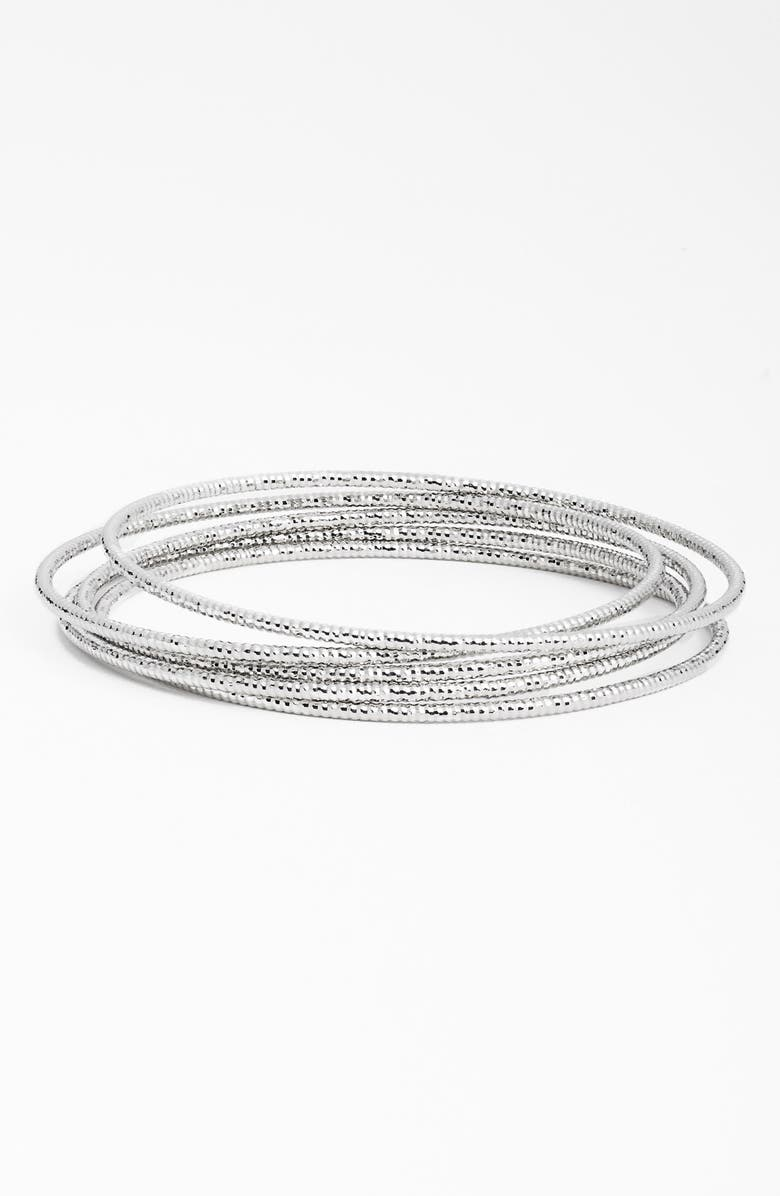 NORDSTROM Textured Bangles, Main, color, Silver