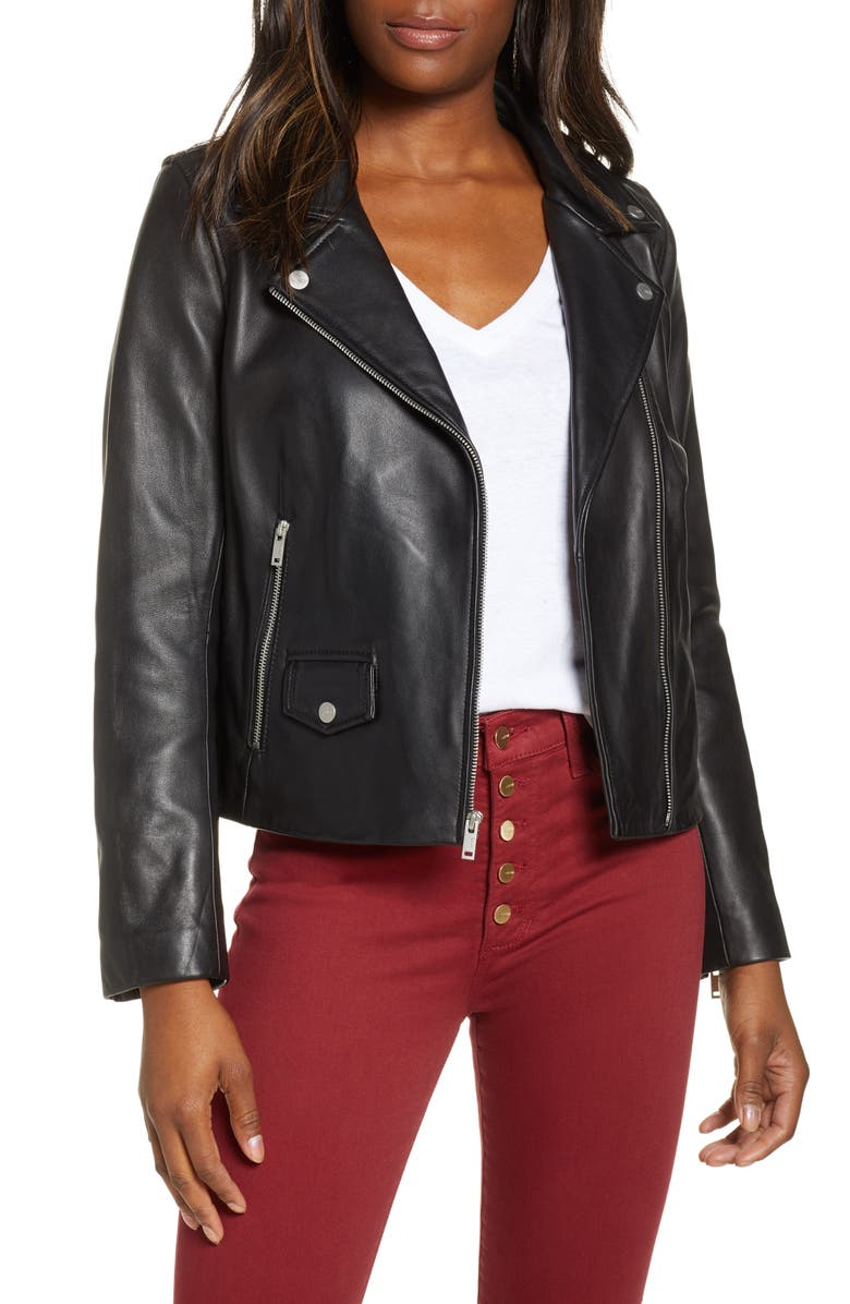 UGG<SUP>®</SUP> Alba Leather Moto Jacket, Main, color, 001