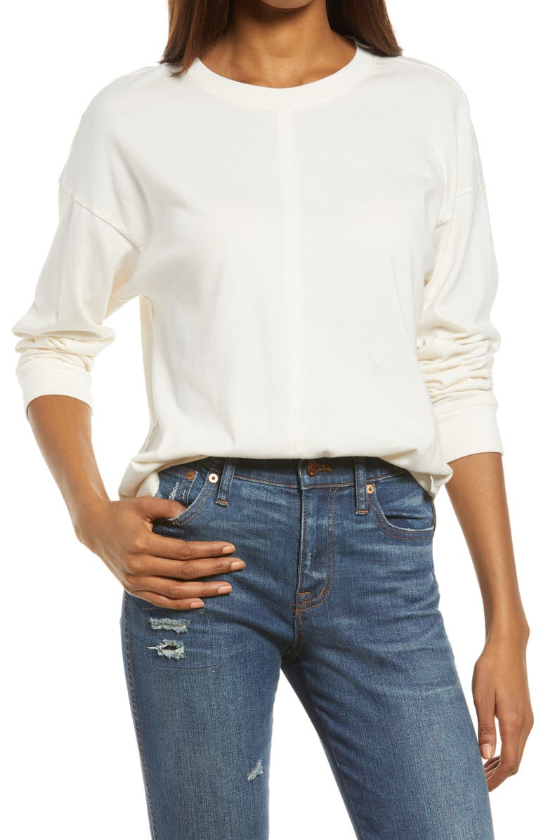 MADEWELL Newville Cotton T-Shirt, Main, color, BRIGHT IVORY