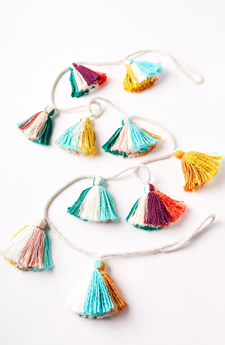 ANTHROPOLOGIE HOME Anthropologie Breanna Garland with Tassels, Main, color, 802