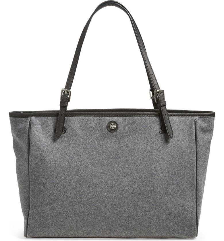 TORY BURCH 'York' Flannel Buckle Tote, Main, color, 020