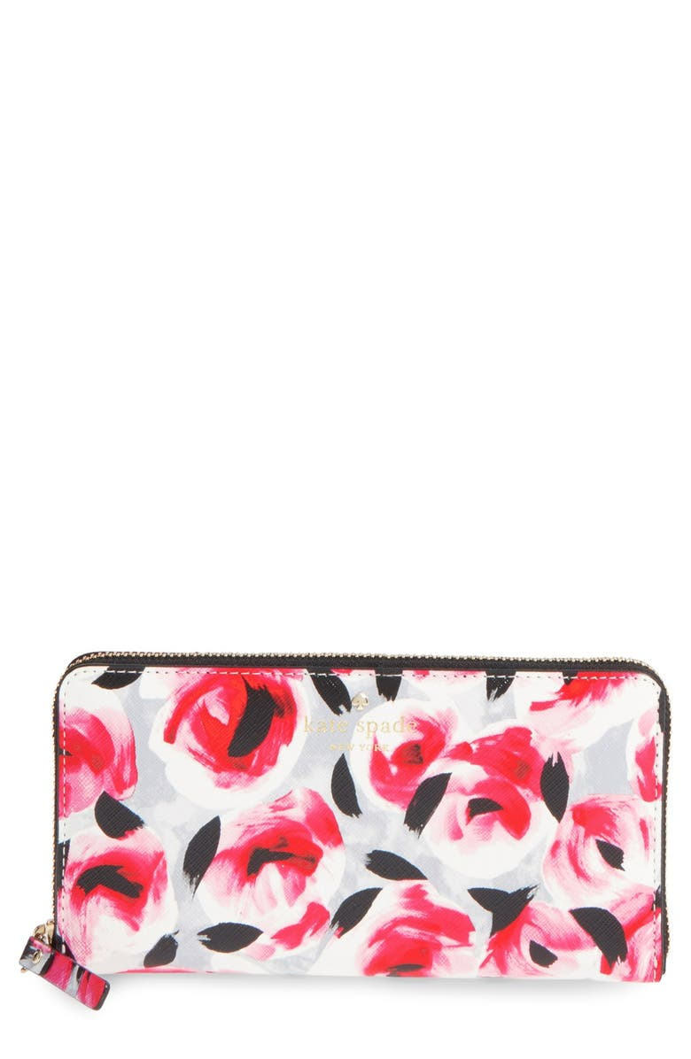 KATE SPADE NEW YORK 'cedar street - rose lacey' zip around wallet, Main, color, 600