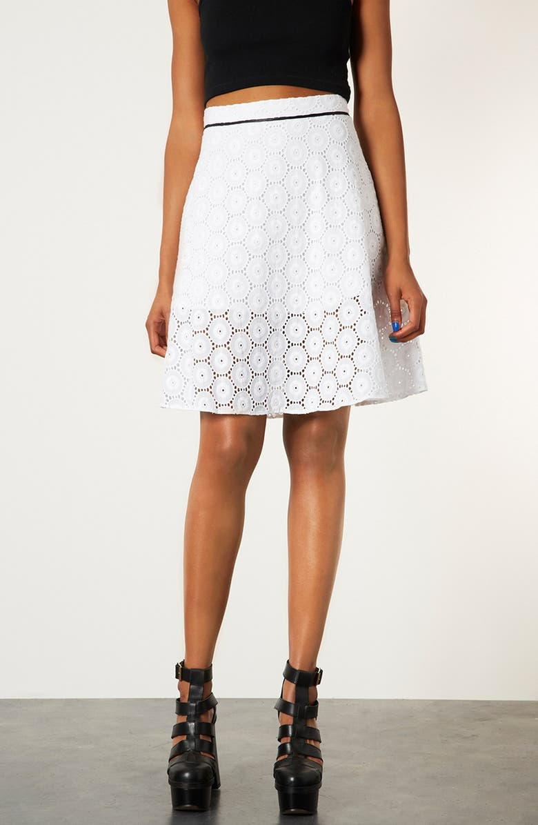 TOPSHOP Broderie Anglaise Skirt, Main, color, White