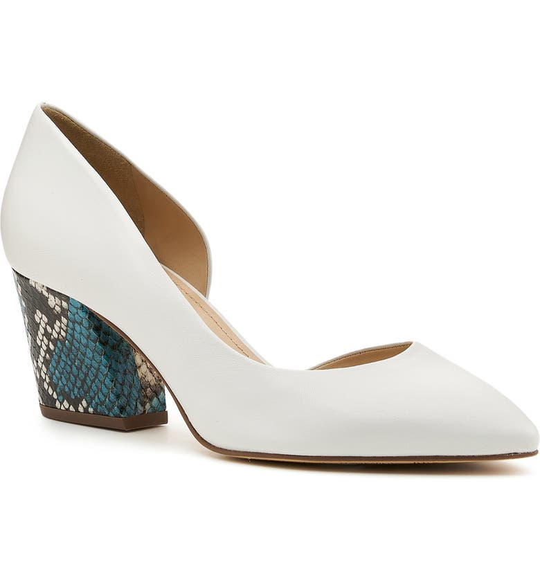 BOTKIER Sena Half d'Orsay Pump, Main, color, WHITE/ SNAKE NAPPA LEATHER