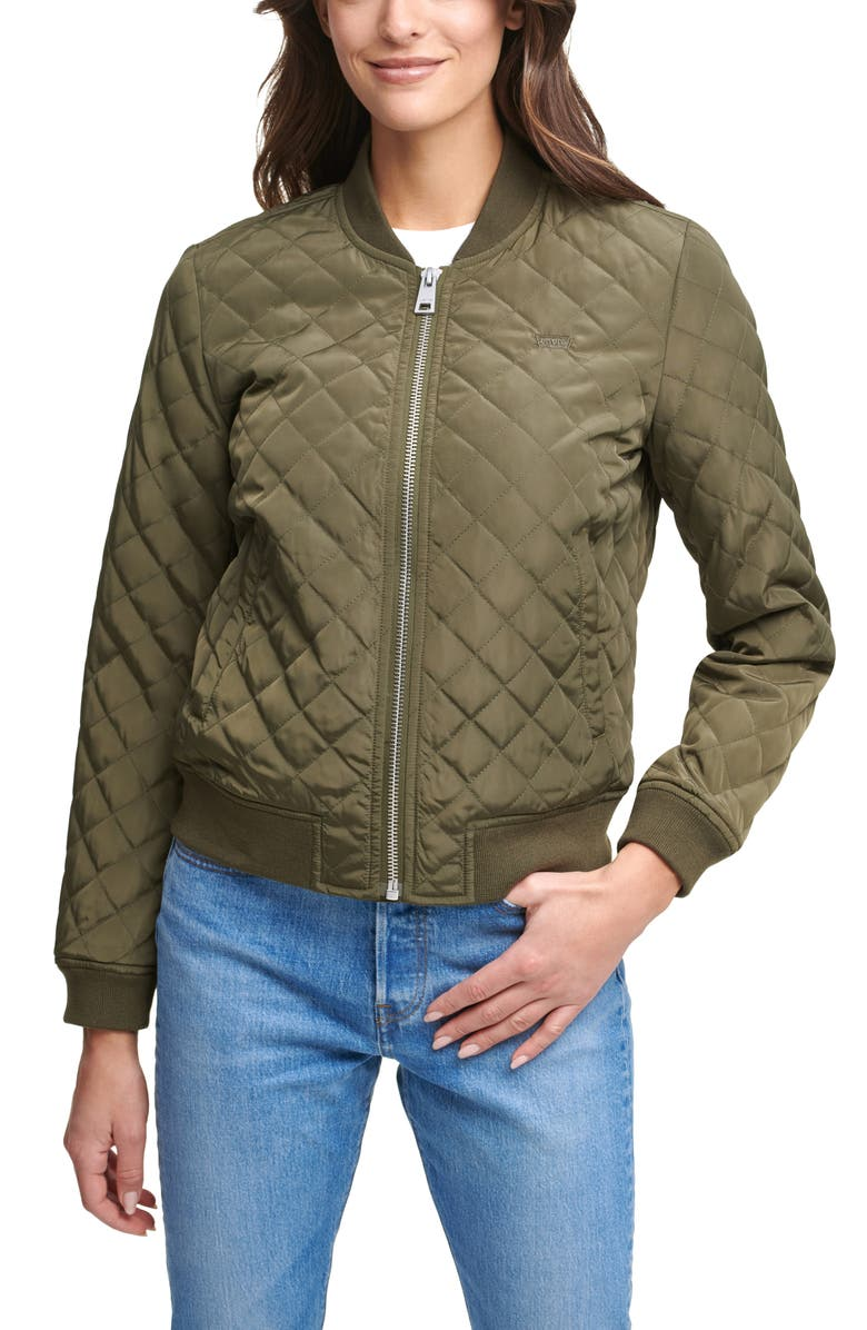 LEVIS Levi's? Quilted Bomber Jacket, Main, color, ARMY GREEN