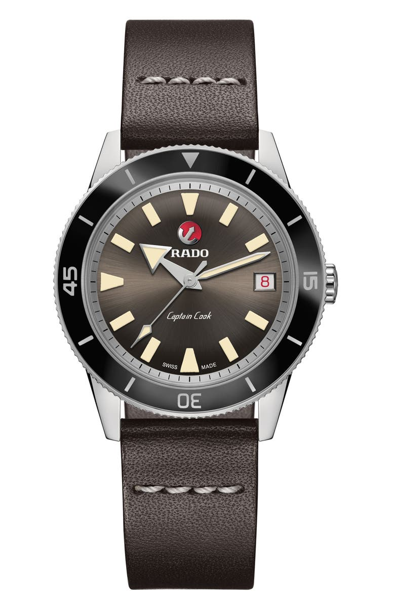 RADO HyperChrome Captain Cook Automatic Leather Strap Watch, 37.3mm, Main, color, 200