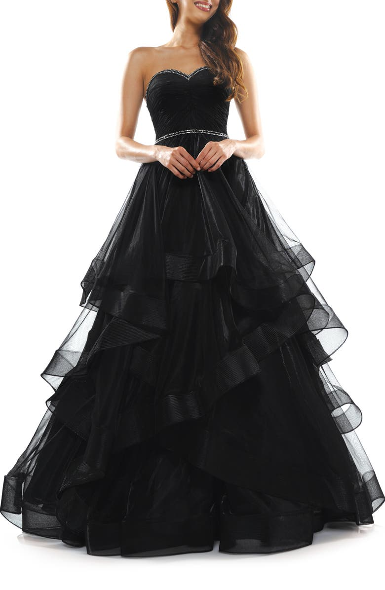 COLORS DRESS Tiered Mesh Strapless Ballgown, Main, color, 001