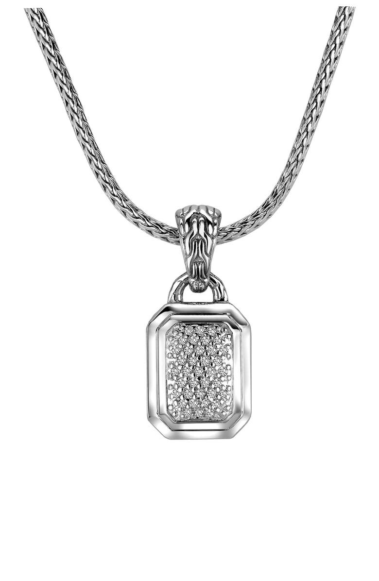 JOHN HARDY Sterling Silver Classic Chain Pave Diamond Rectangular Pendant Necklace - 0.26 ctw, Main, color, NO COLOR