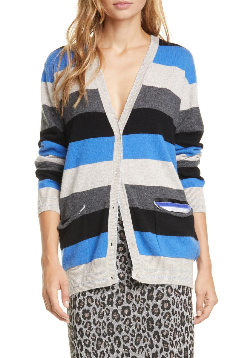LE SUPERBE Midnight Rainbow Metallic Wool & Cashmere Boyfriend Cardigan, Main, color, 400