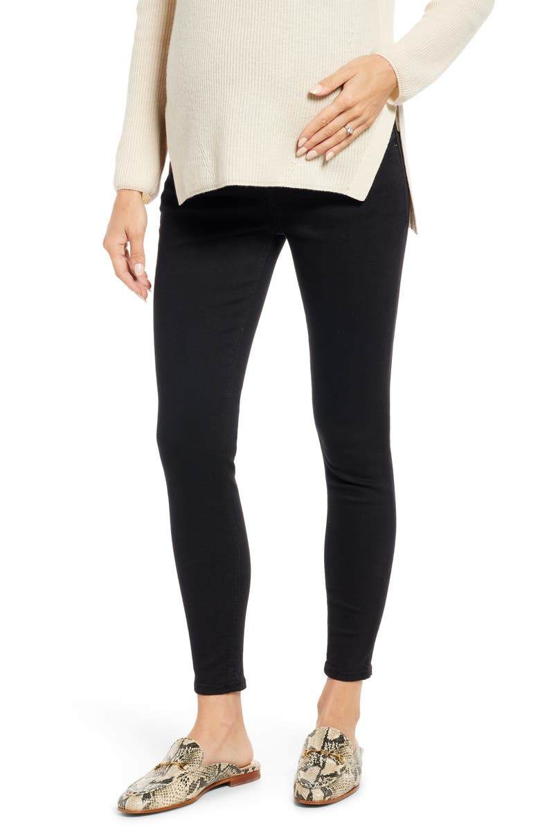 TOPSHOP Over the Bump Maternity Jeans, Main, color, BLACK