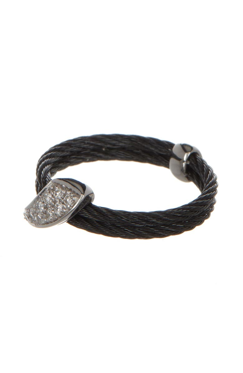 ALOR 18K White Gold Diamond Pave Cable Ring - 0.07 ctw - Size 6.5, Main, color, 18KT WG