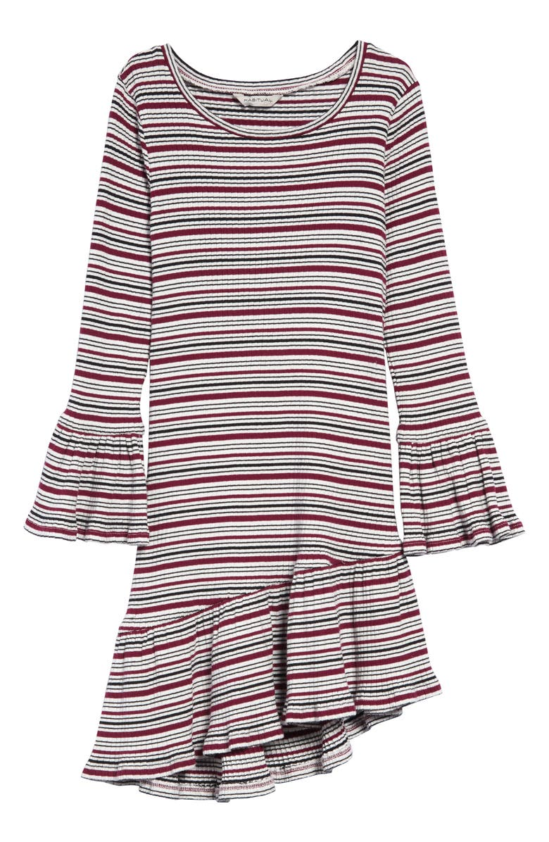 HABITUAL GIRL Habitual Blaire Stripe Ruffle Dress, Main, color, 975