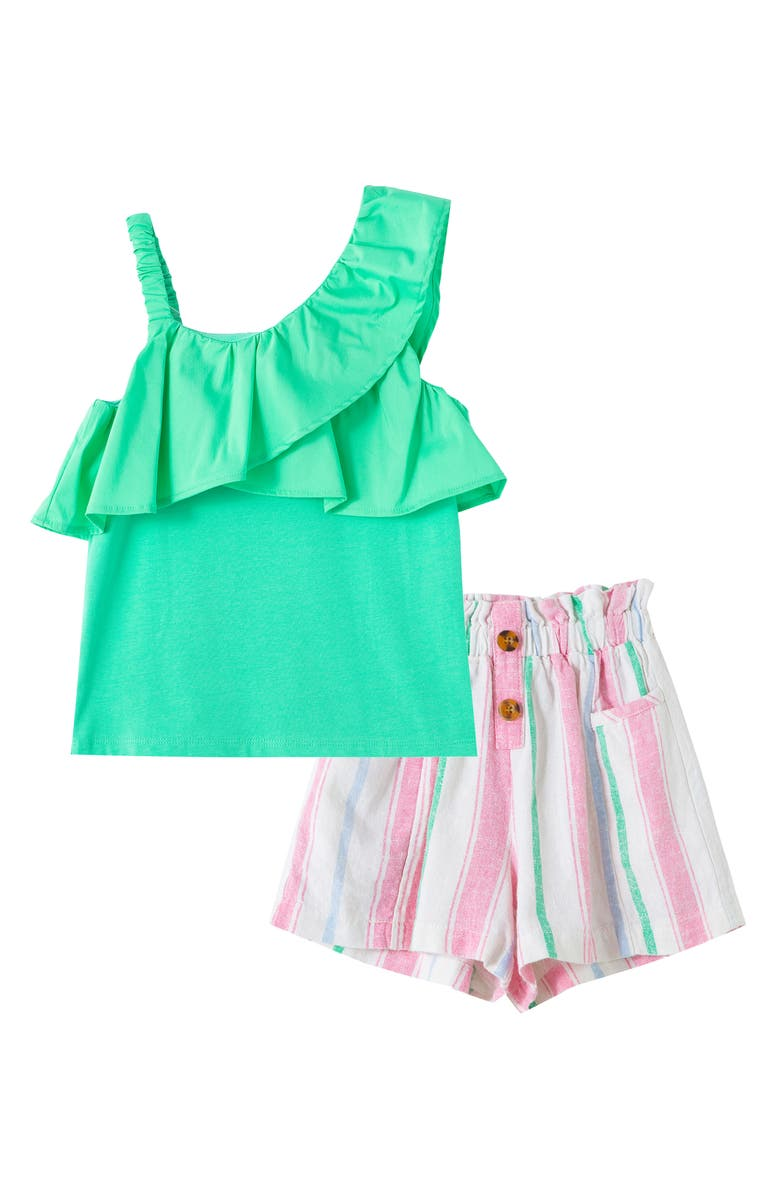 HABITUAL GIRL Kids' One-Shoulder Ruffle Top & Shorts Set, Main, color, GREEN