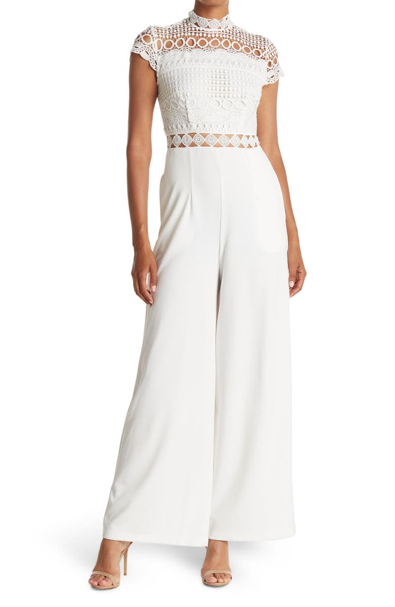 LOVE BY DESIGN Dayna Crochet Lace Cap Sleeve Jumpsuit, Main, color, IVORY