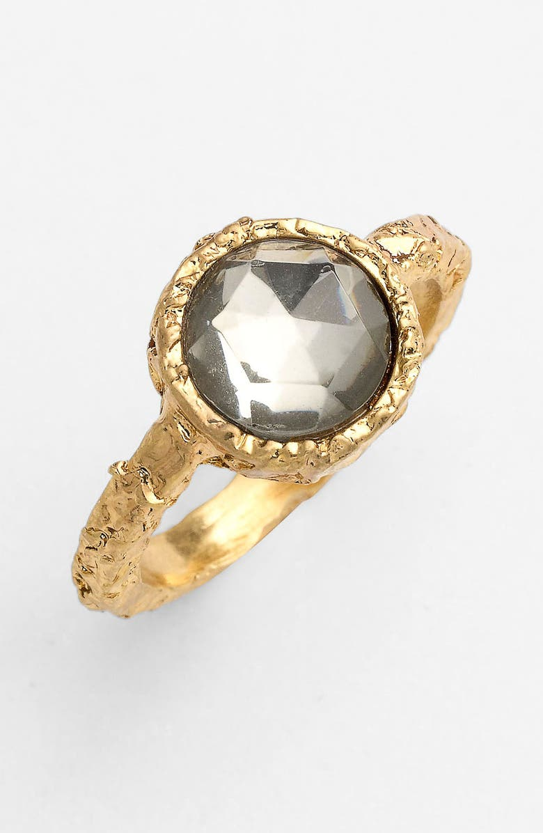 MARC BY MARC JACOBS 'Exploded Bow' Stone Ring, Main, color, BLACK DIAMOND/ ANTIQUE GOLD