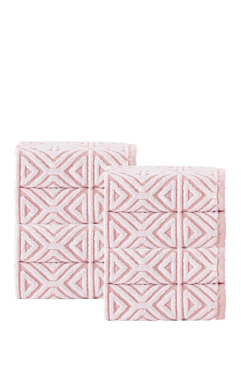 ENCHANTE HOME Glamour Turkish Cotton Wash Cloth - Pink - Set of 8, Main, color, PINK