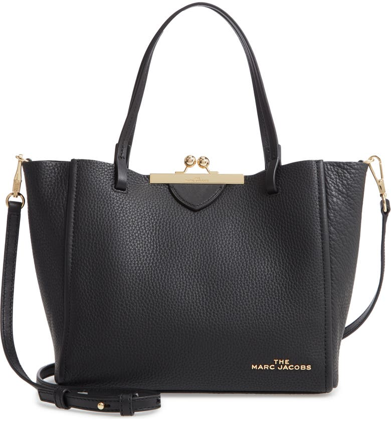 THE MARC JACOBS The Kiss Lock Mini Leather Tote, Main, color, 001