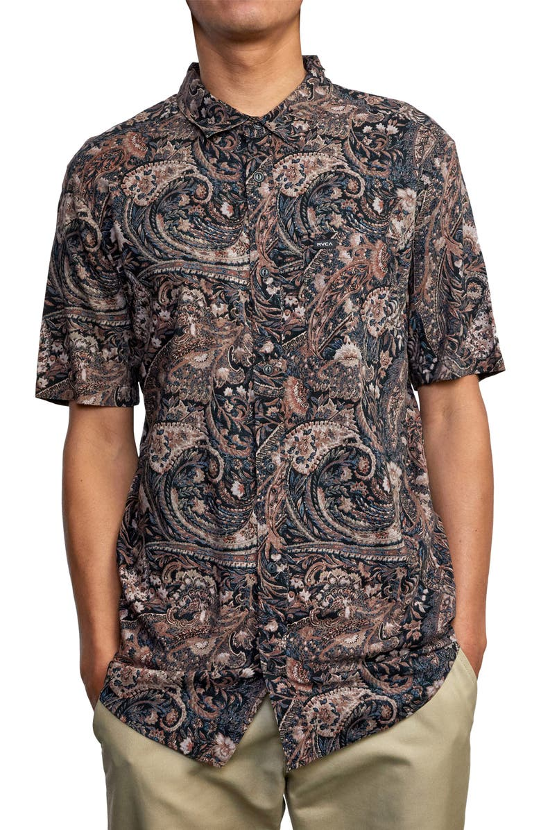 RVCA Tangier Paisley Short Sleeve Button-Up Shirt, Main, color, MULTI