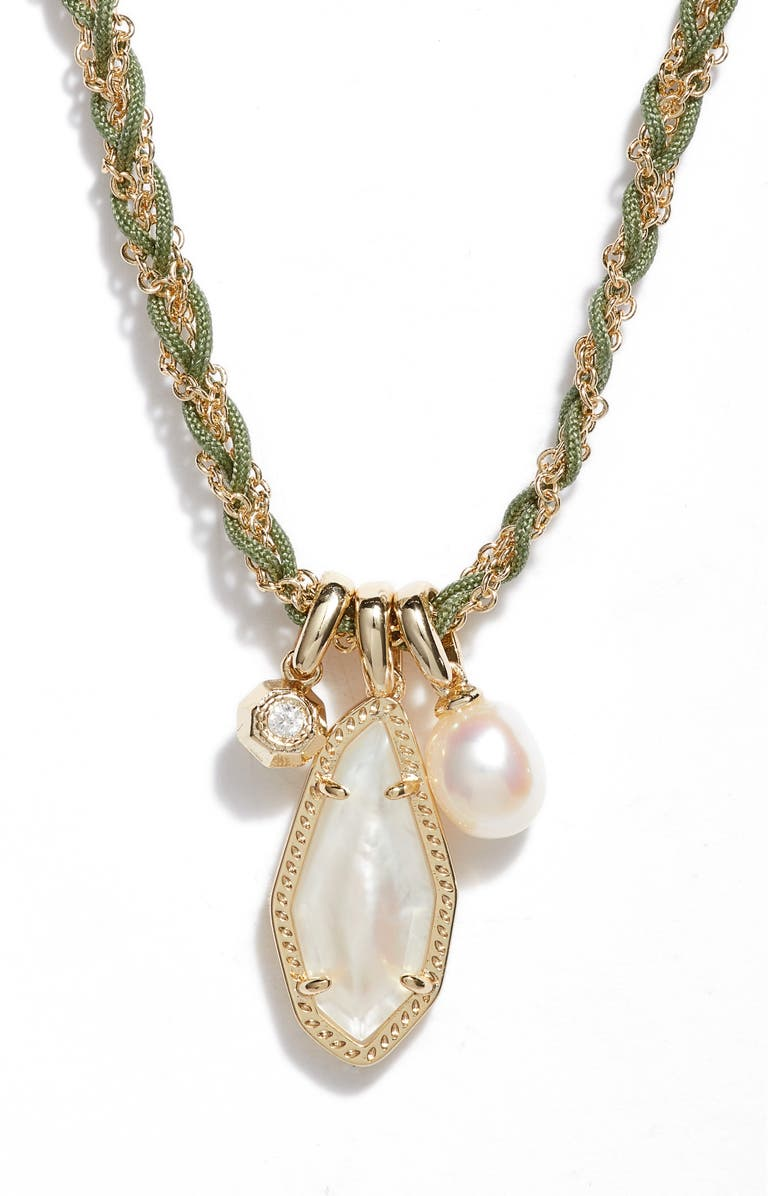 KENDRA SCOTT Muriel Charm Necklace, Main, color, GOLD IVORY MOTHER OF PEARL