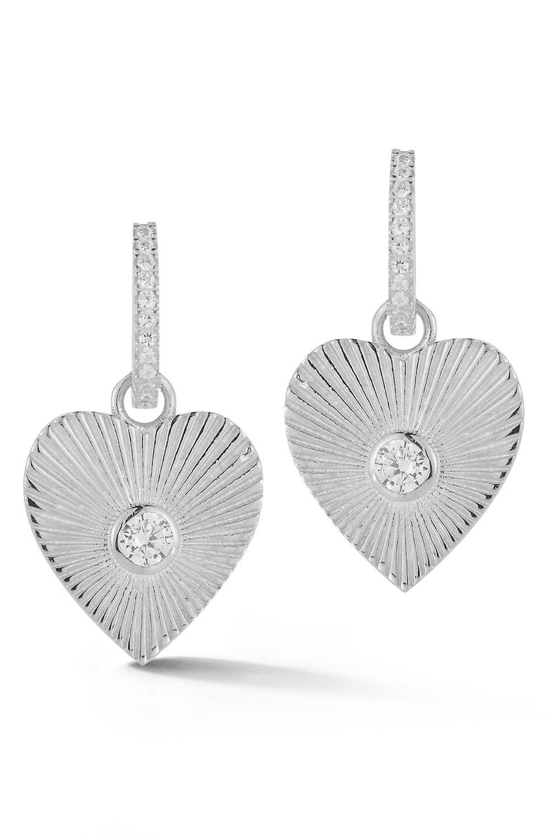 SPHERA MILANO Rhodium Plated Sterling Silver CZ Heart Drop Earrings, Main, color, SILVER