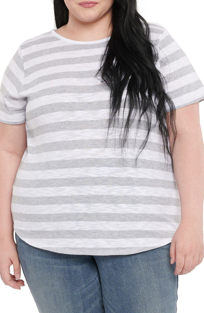 NYDJ Rugby Stripe Jersey T-Shirt, Main, color, LIGHT HEATHER GREY