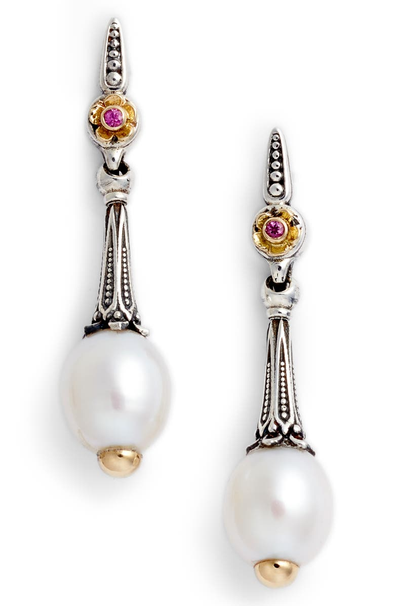 KONSTANTINO Pearl & Pink Sapphire Drop Earrings, Main, color, SILVER/ GOLD/ WHITE/ PINK
