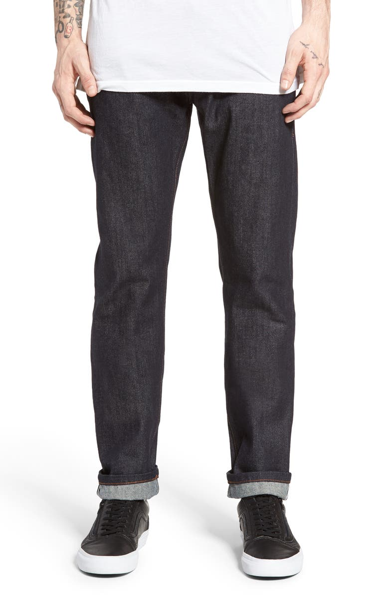 THE UNBRANDED BRAND UB201 Tapered Fit Raw Selvedge Jeans, Main, color, 401