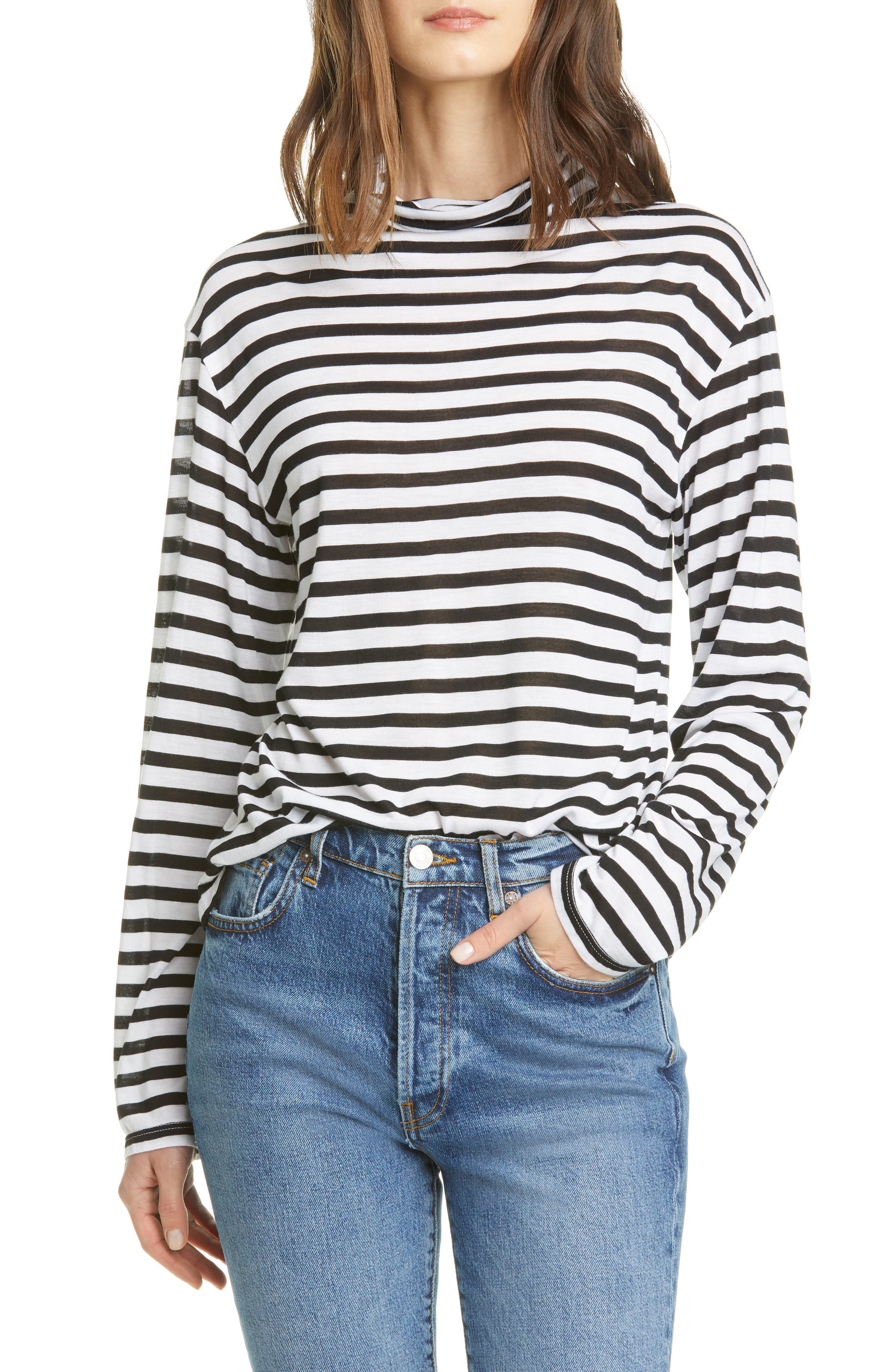 ATM Womens Striped Scoop Neck Top