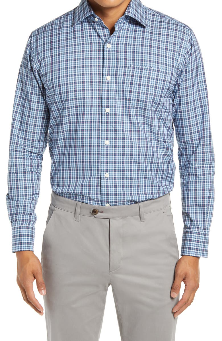 PETER MILLAR Waccamaw Regular Fit Glen Plaid Button-Up Shirt, Main, color, CITY BLUE