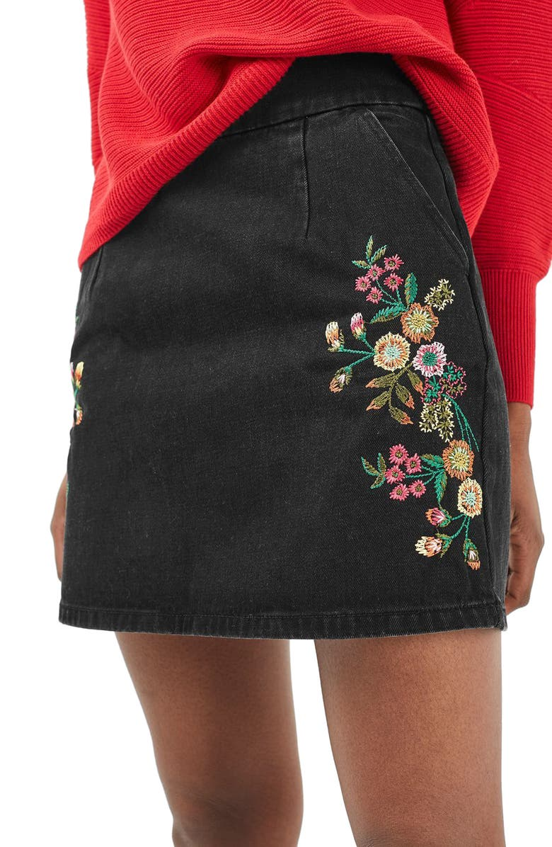 TOPSHOP Embroidered Denim A-Line Skirt, Main, color, 001