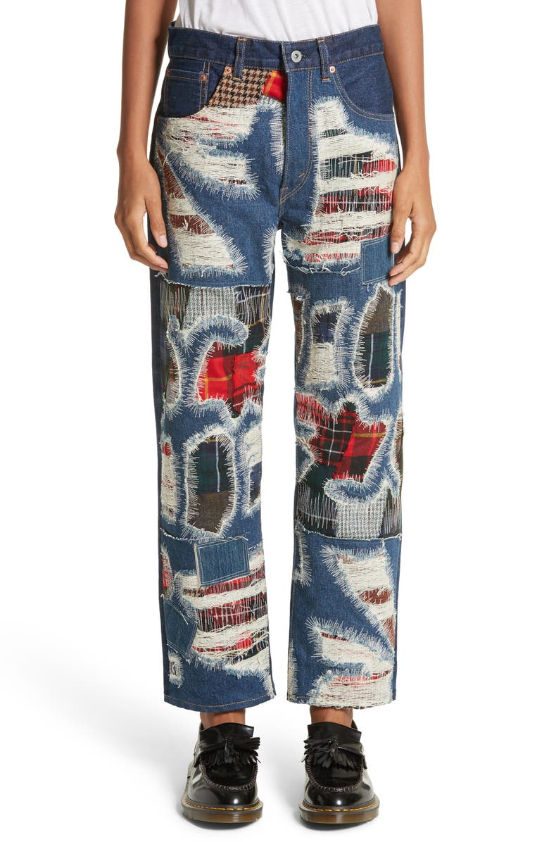 JUNYA WATANABE Distressed Patch Jeans, Main, color, 460