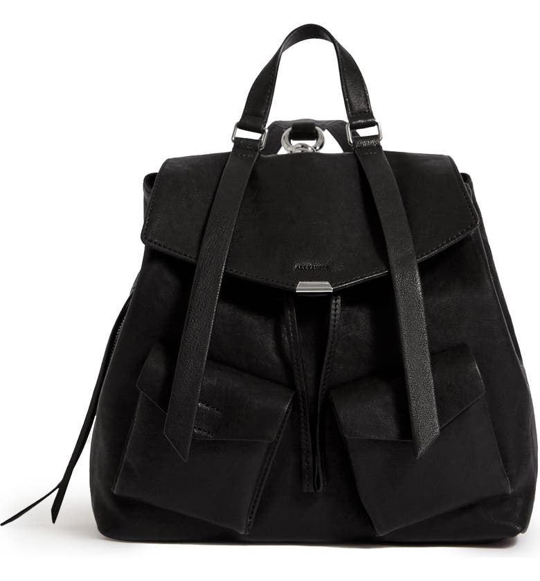 ALLSAINTS Tower Leather Backpack, Main, color, 001