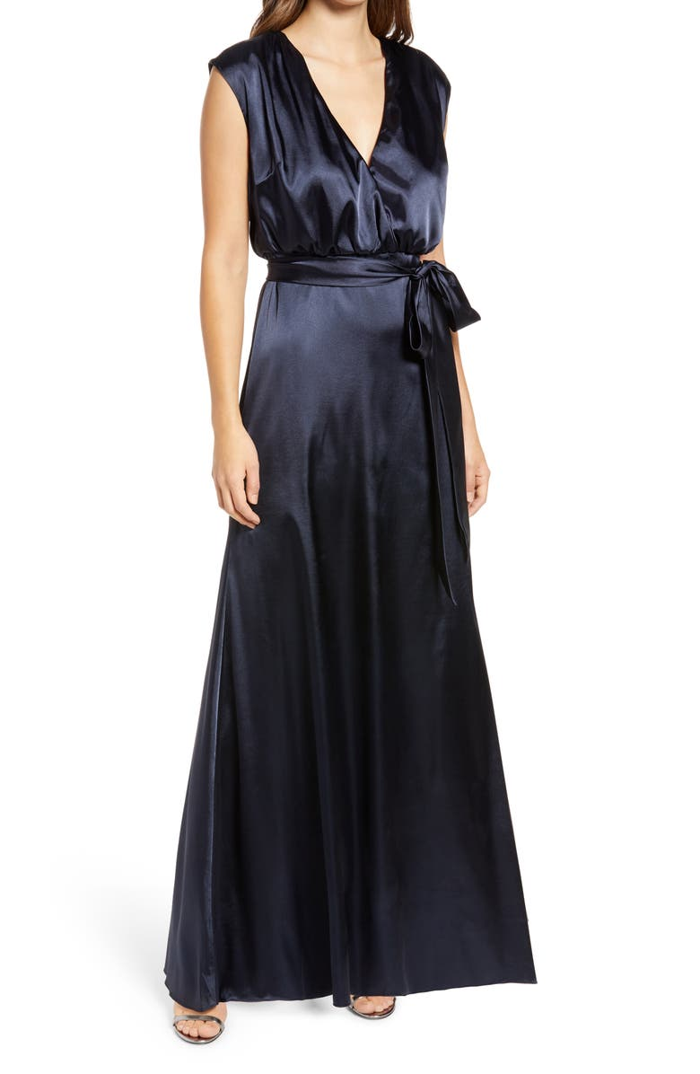 DESSY COLLECTION V-Neck Stretch Charmeuse Gown, Main, color, MIDNIGHT