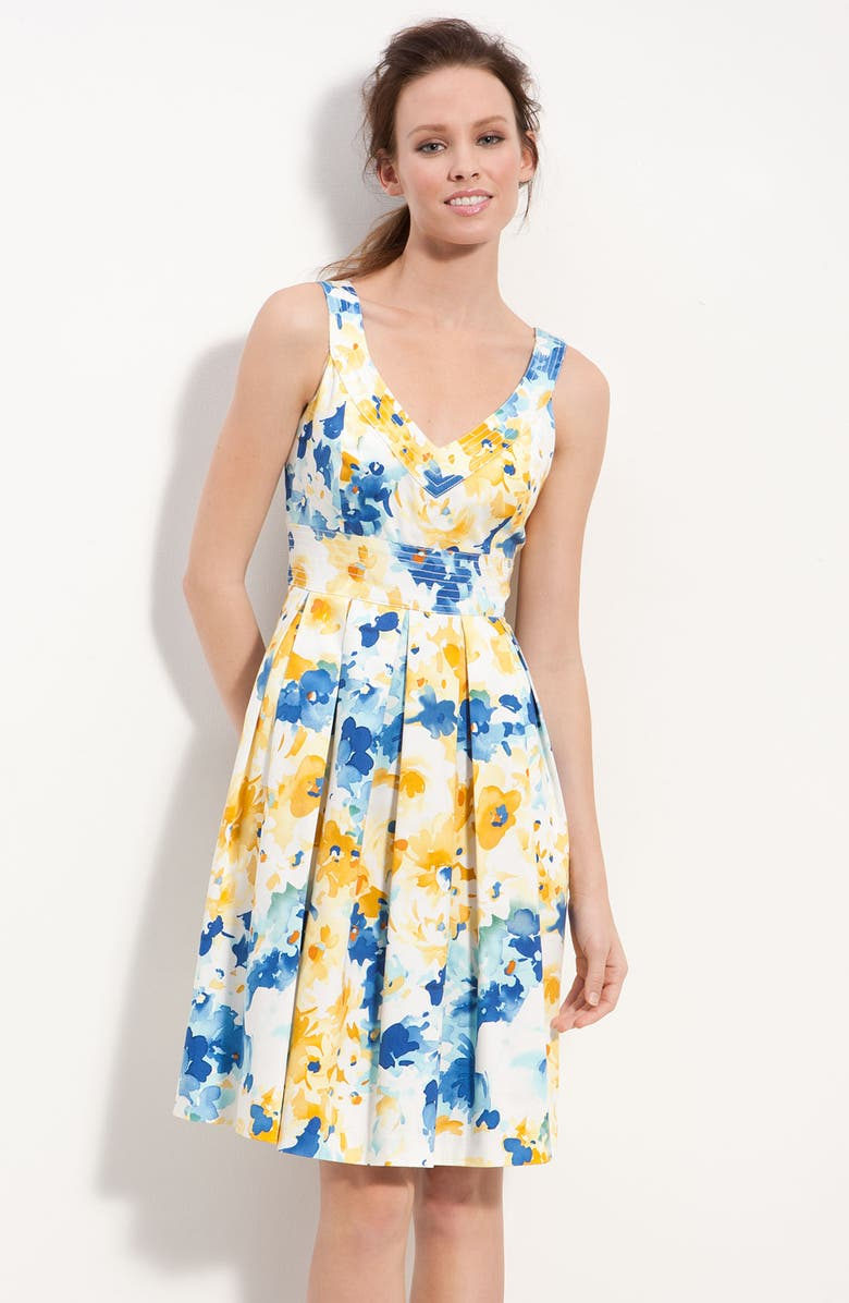 MUSE Floral Print Fit & Flare Dress, Main, color, MULTI