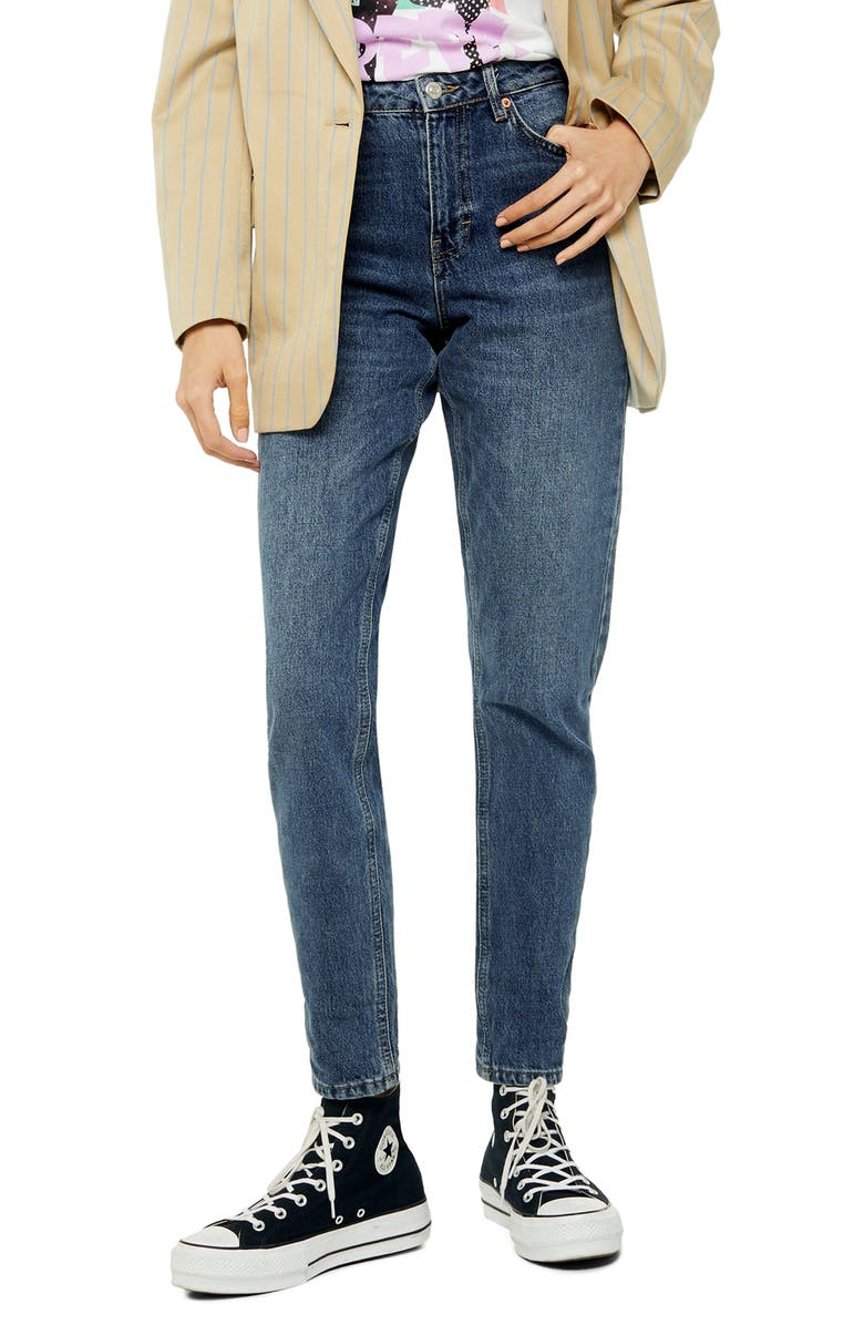 TOPSHOP Tapered Mom Jeans, Main, color, 400