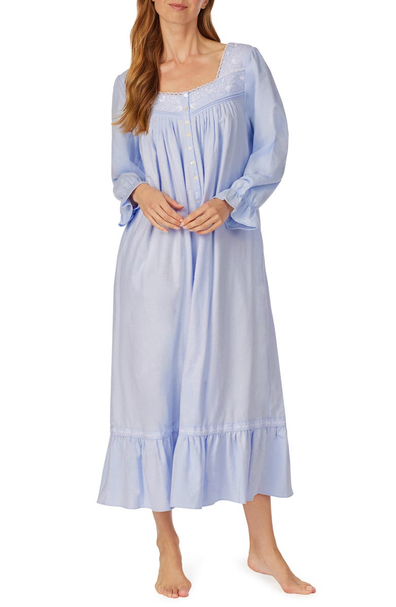 EILEEN WEST Long Sleeve Cotton Flannel Nightgown, Main, color, 453