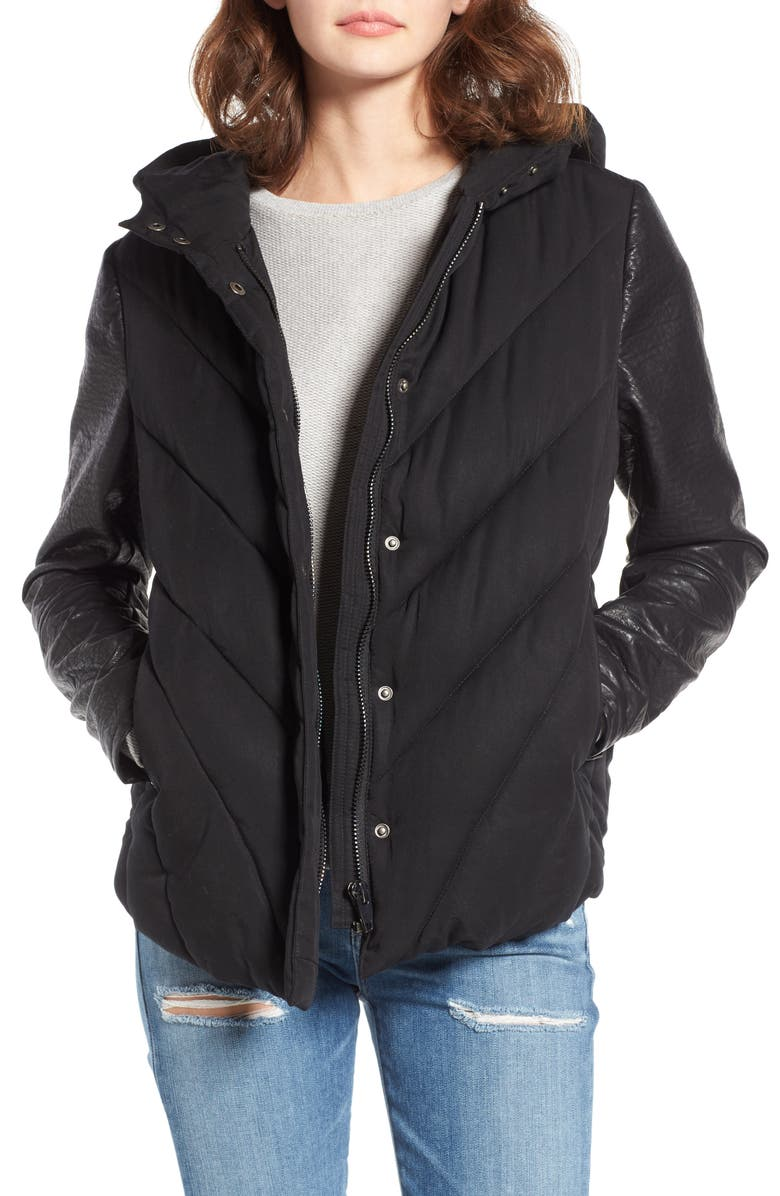 BLANKNYC Bed Fellows Puffer Jacket with Faux Leather Sleeves, Main, color, BED FELLOWS