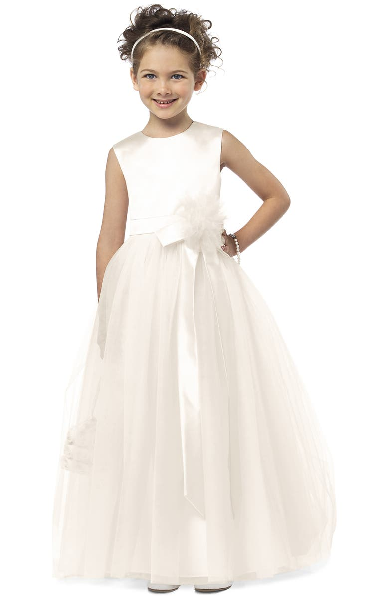 DESSY COLLECTION Flower Girl Dress, Main, color, IVORY
