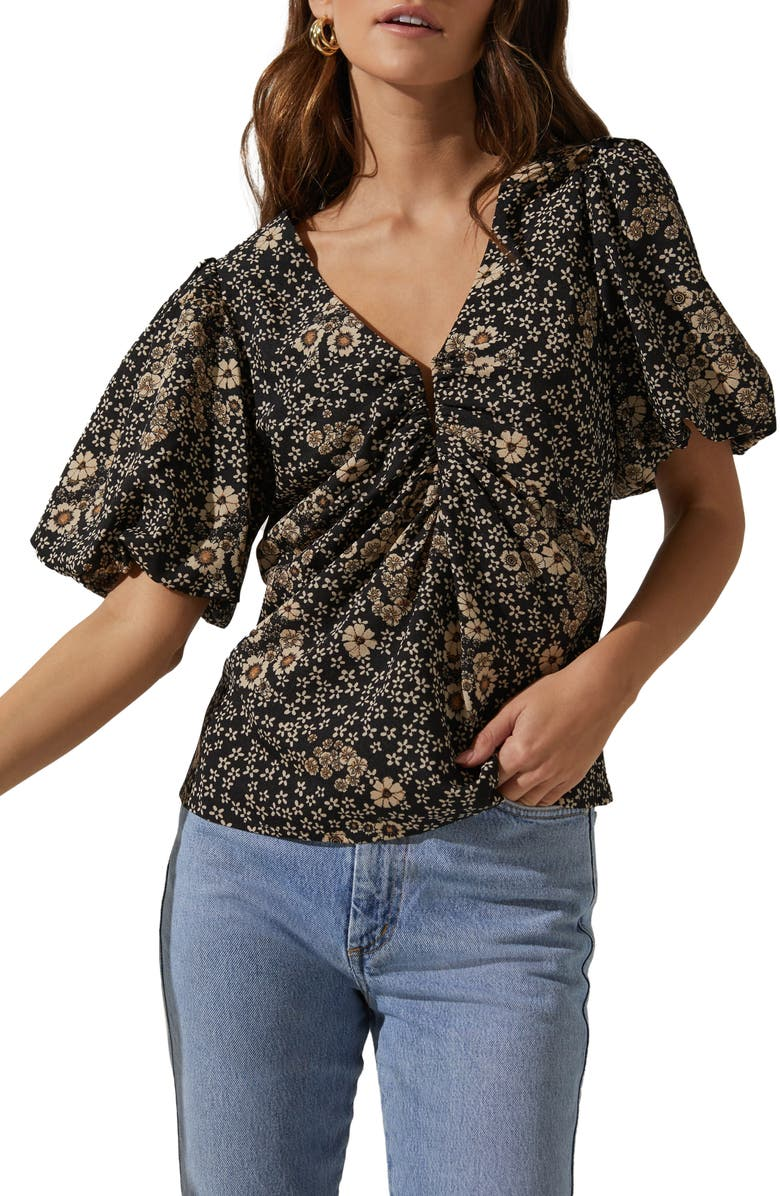 ASTR THE LABEL Deep-V Balloon Sleeve Top, Main, color, BLACK-TAUPE MULTI FLORAL
