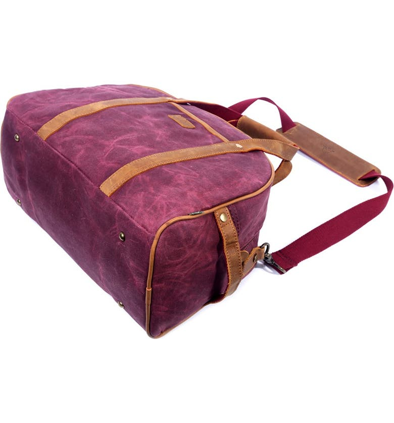 THE SAME DIRECTION Stone Creek Waxed Canvas Weekend Bag, Main, color, BURGUNDY