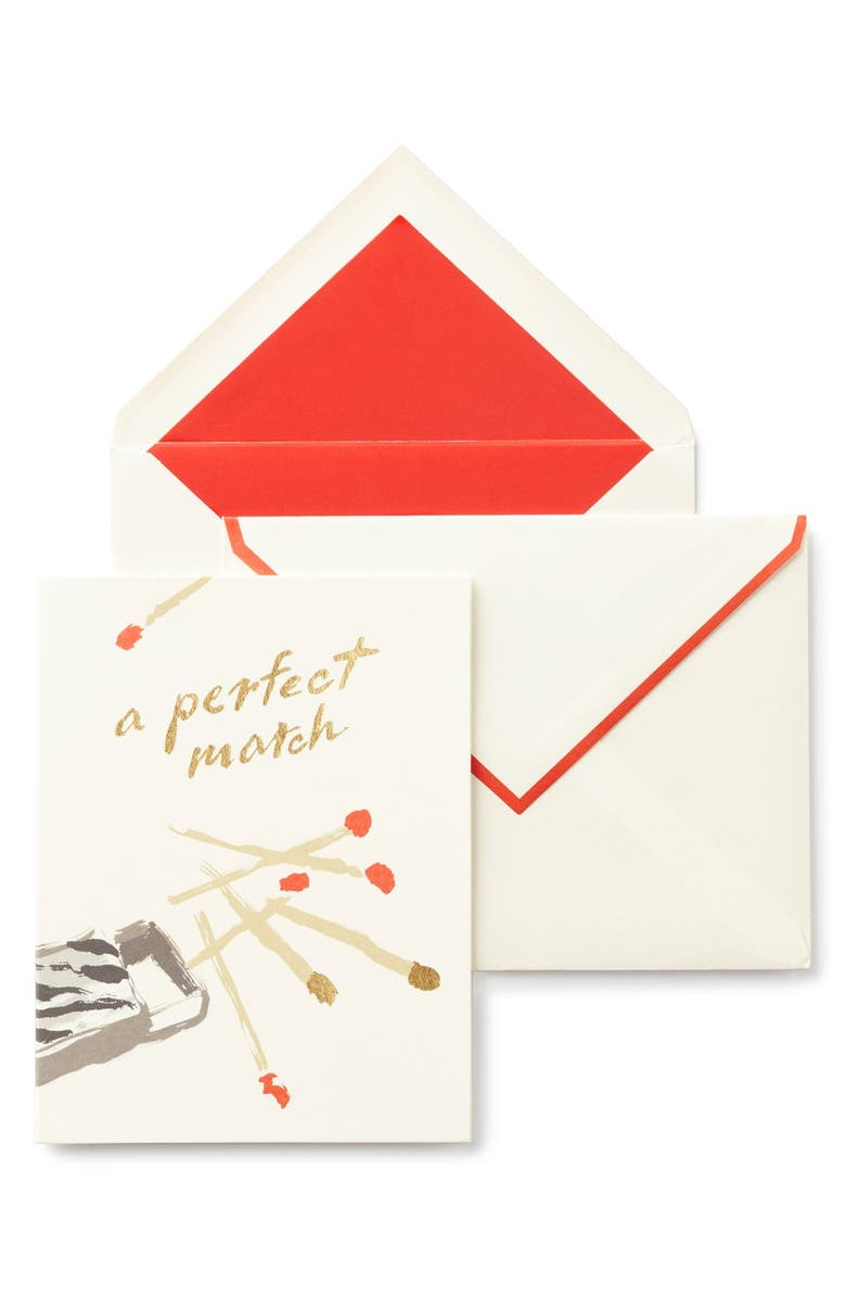 KATE SPADE NEW YORK 'a perfect match' greeting card, Main, color, 100