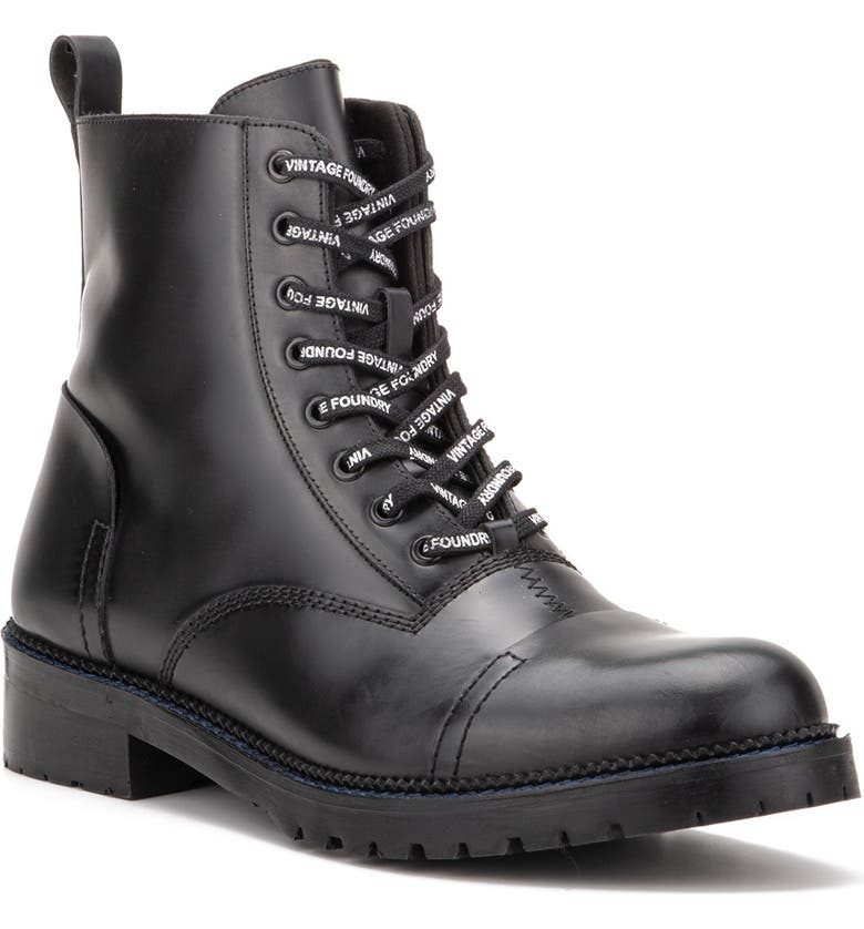 VINTAGE FOUNDRY Onyx Leather Lace-Up Boot, Main, color, BLACK