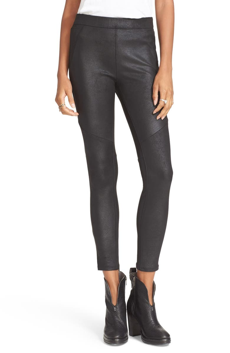 FREE PEOPLE Never Let Go Faux Leather Pants, Main, color, 001